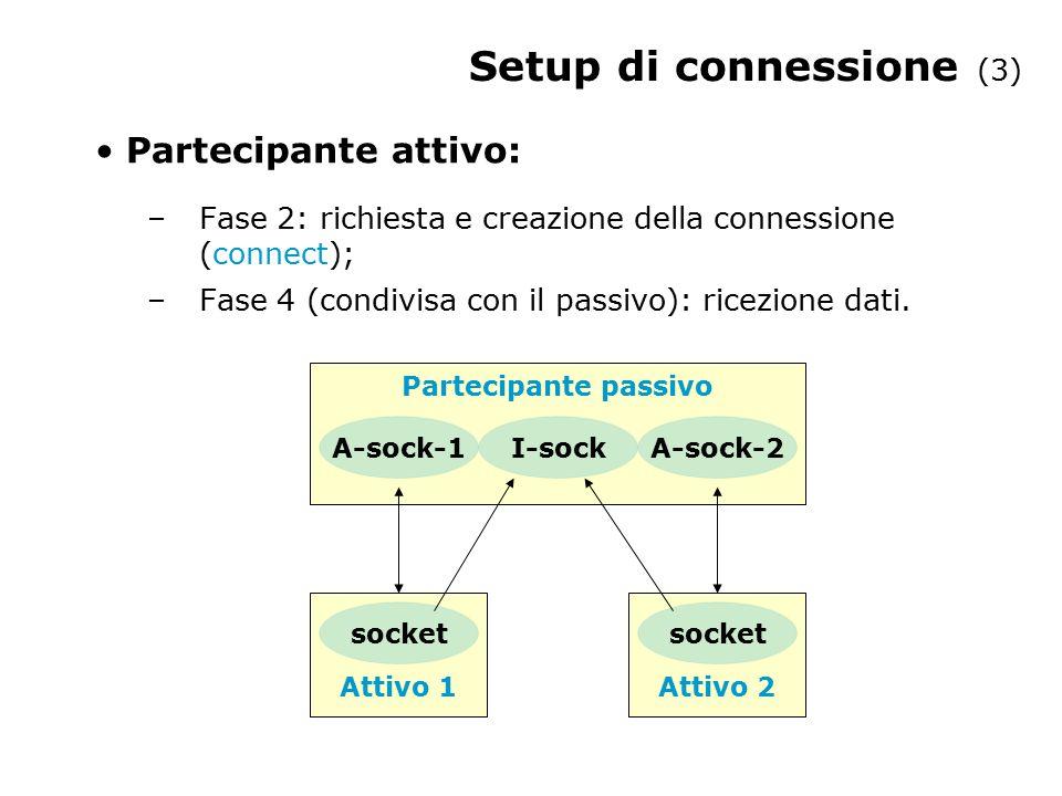 Setup di connessione (3) Partecipante attivo: –Fase 2: richiesta e creazione della connessione (connect); –Fase 4 (condivisa con il passivo): ricezion