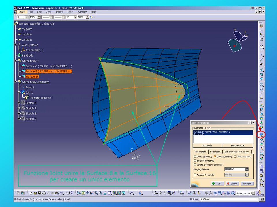 Funzione Joint unire la Surface.8 e la Surface.16 per creare un unico elemento