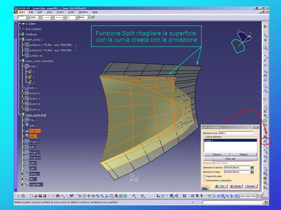 Funzione Split ritagliare la superficie con la curva creata con la proiezione