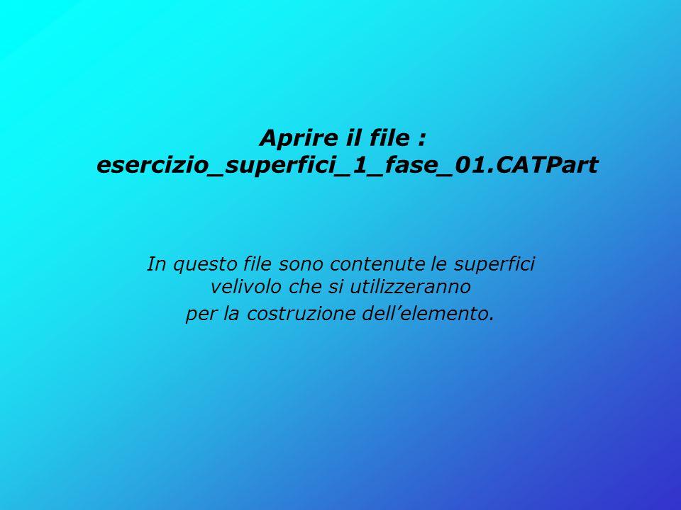 Aprire il file : esercizio_superfici_1_fase_01.CATPart In questo file sono contenute le superfici velivolo che si utilizzeranno per la costruzione del