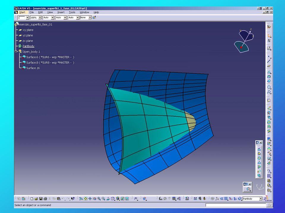 Attivare il Workbenches Shape - Generative Shape Design perché nella prima fase utilizzeremo la modalità di modellazione per superfici Come prima operazione dobbiamo generare una nuova terna d'assi relativa alla geometria che dovremo manipolare Inserire nell'albero della parte un nuovo Open Body rinominandolo per es.