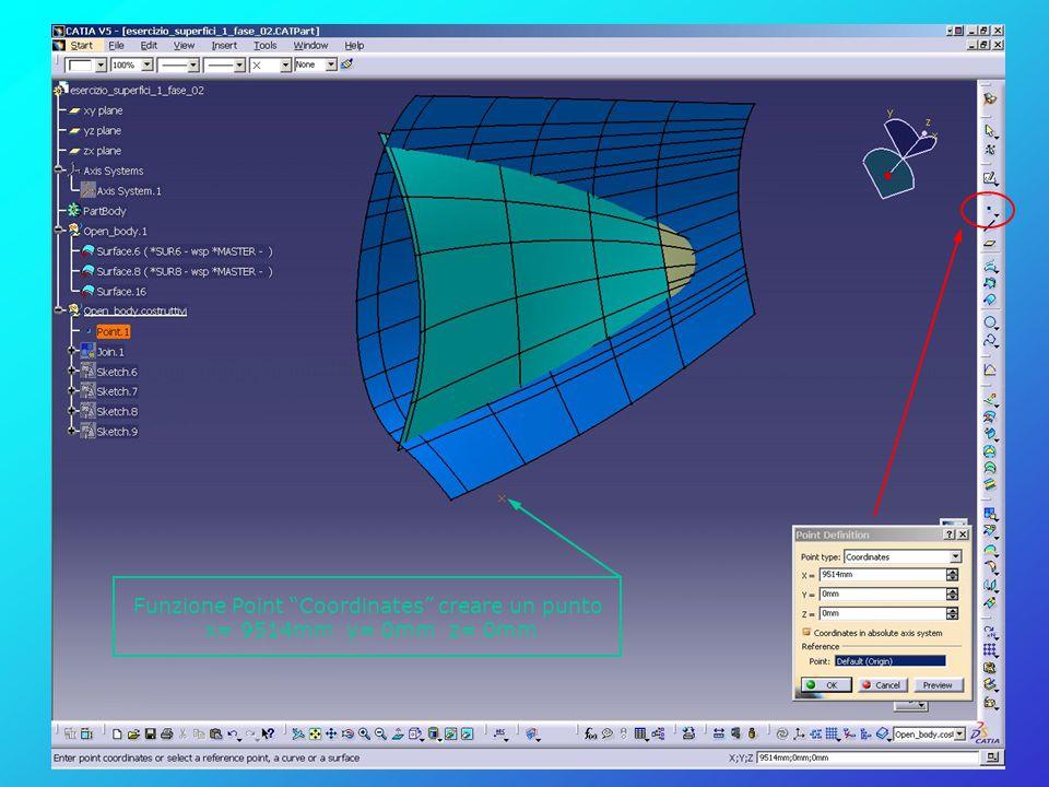 "Funzione Point ""Coordinates"" creare un punto x= 9514mm y= 0mm z= 0mm"