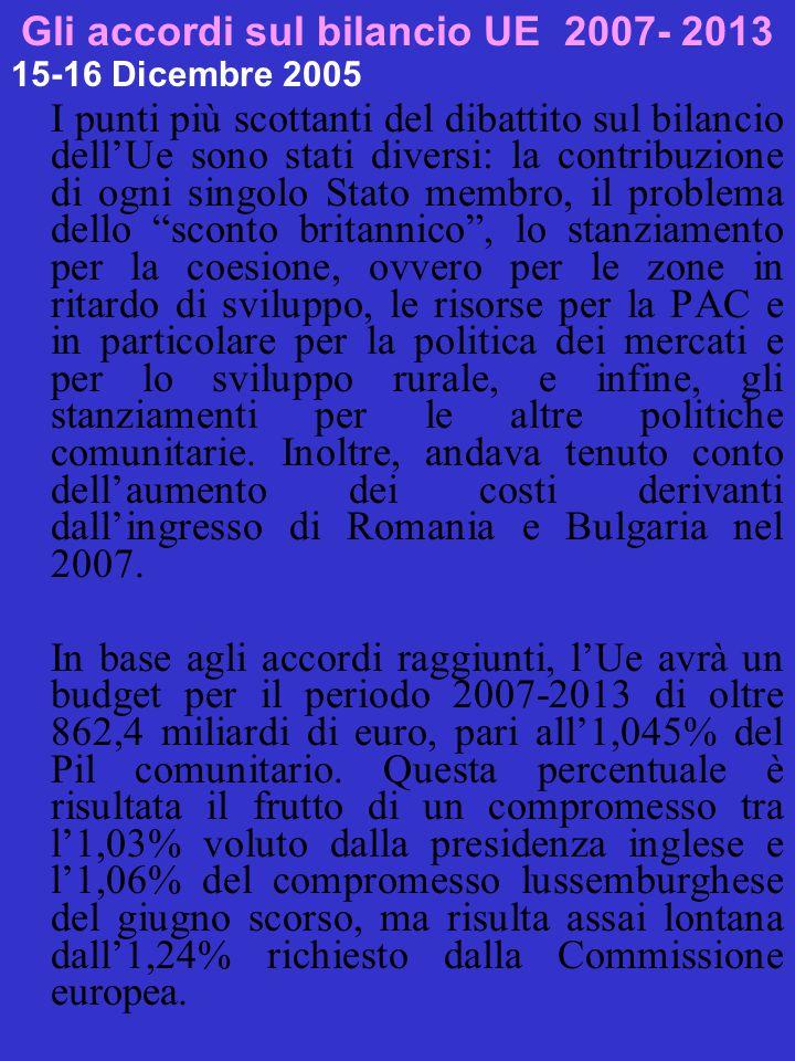 Gli accordi sul bilancio UE 2007- 2013 15-16 Dicembre 2005 I punti più scottanti del dibattito sul bilancio dell'Ue sono stati diversi: la contribuzione di ogni singolo Stato membro, il problema dello sconto britannico , lo stanziamento per la coesione, ovvero per le zone in ritardo di sviluppo, le risorse per la PAC e in particolare per la politica dei mercati e per lo sviluppo rurale, e infine, gli stanziamenti per le altre politiche comunitarie.