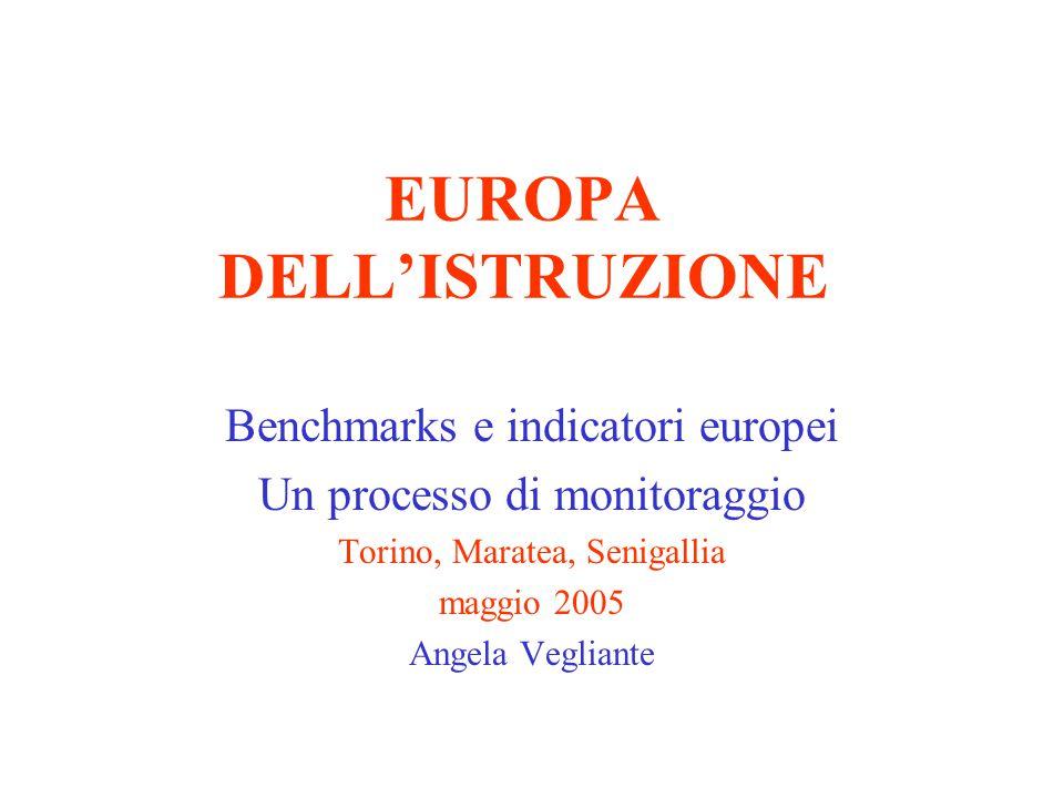 EUROPA DELL'ISTRUZIONE Benchmarks e indicatori europei Un processo di monitoraggio Torino, Maratea, Senigallia maggio 2005 Angela Vegliante