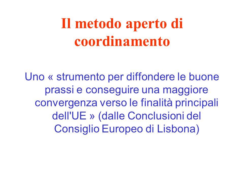 Il metodo aperto di coordinamento Uno « strumento per diffondere le buone prassi e conseguire una maggiore convergenza verso le finalità principali dell UE » (dalle Conclusioni del Consiglio Europeo di Lisbona)