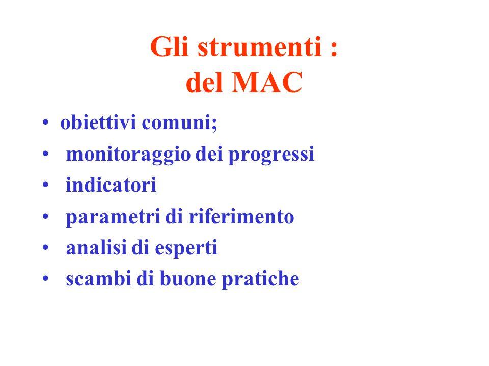 Gli strumenti : del MAC obiettivi comuni; monitoraggio dei progressi indicatori parametri di riferimento analisi di esperti scambi di buone pratiche