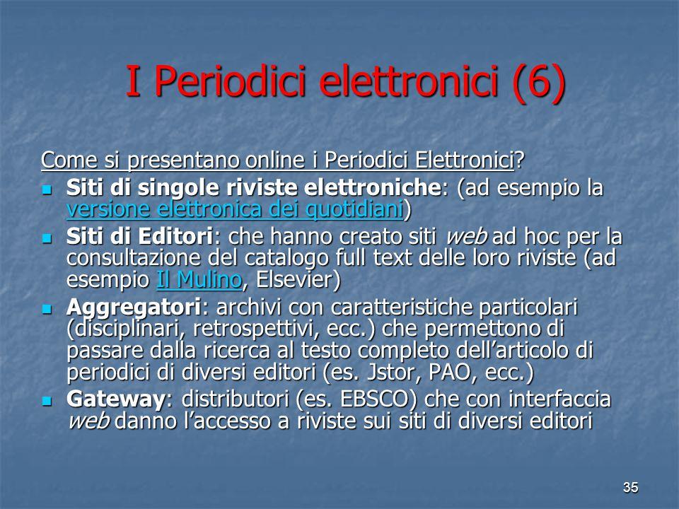 """34 I Periodici Elettronici (5) Un periodico elettronico raramente si presenta in modo """"isolato"""" sul web (il caso più tipico in questo senso è quello d"""