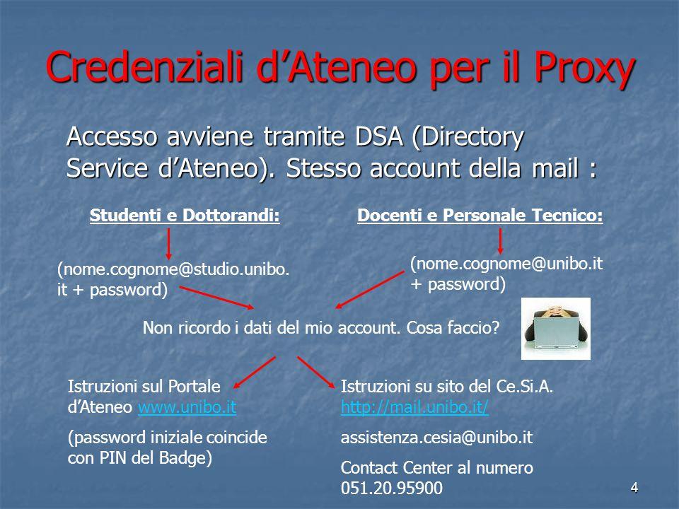 3 L'accesso alle risorse elettroniche dell'Ateneo tramite il Servizio PROXY Istruzioni complete su: http://www.biblioteche.unibo.it/portale http://www
