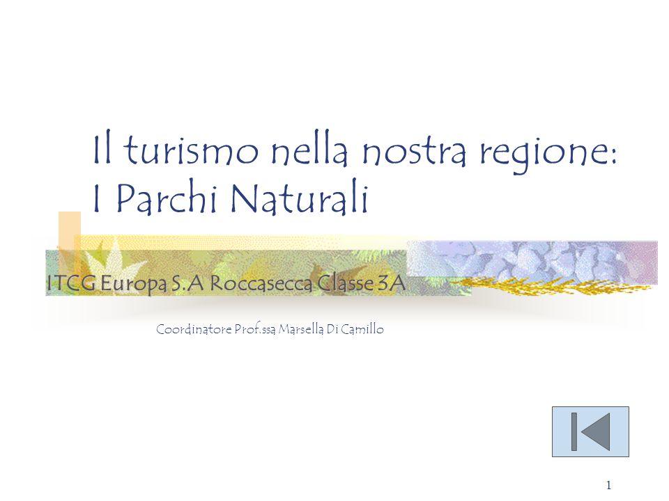1 Il turismo nella nostra regione: I Parchi Naturali Coordinatore Prof.ssa Marsella Di Camillo ITCG Europa S.A Roccasecca Classe 3A Per aggiungere all