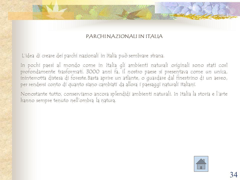 34 PARCHI NAZIONALI IN ITALIA L'idea di creare dei parchi nazionali in Italia può sembrare strana. In pochi paesi al mondo come in Italia gli ambienti