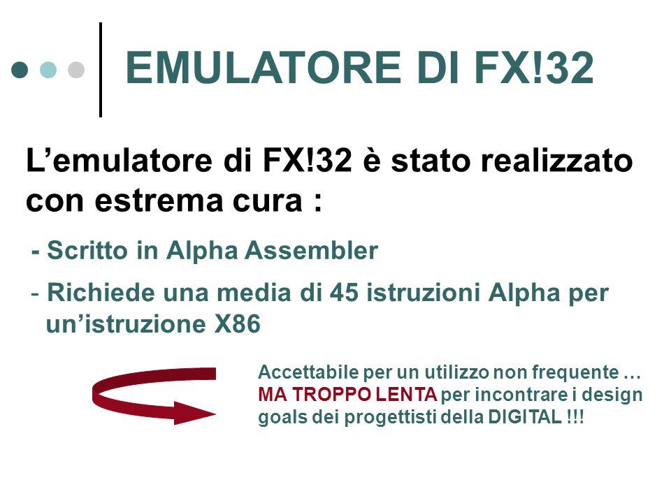 EMULATORE DI FX!32 L'emulatore di FX!32 è stato realizzato con estrema cura : - Scritto in Alpha Assembler - Richiede una media di 45 istruzioni Alpha