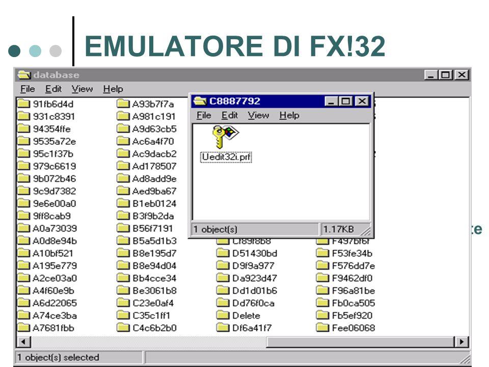 EMULATORE DI FX!32 Concludendo sull'emulatore …  Tiene traccia della porzione di applicazione che è stata emulata  Il risultato è mantenuto in un file di log, EXECUTION PROFILE.