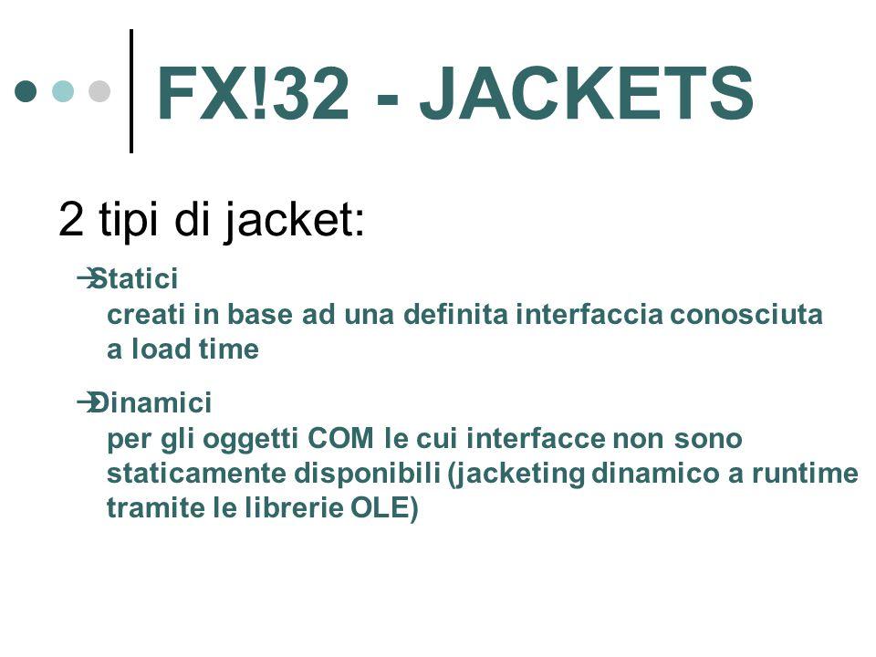 2 tipi di jacket:  Statici creati in base ad una definita interfaccia conosciuta a load time  Dinamici per gli oggetti COM le cui interfacce non sono staticamente disponibili (jacketing dinamico a runtime tramite le librerie OLE) FX!32 - JACKETS
