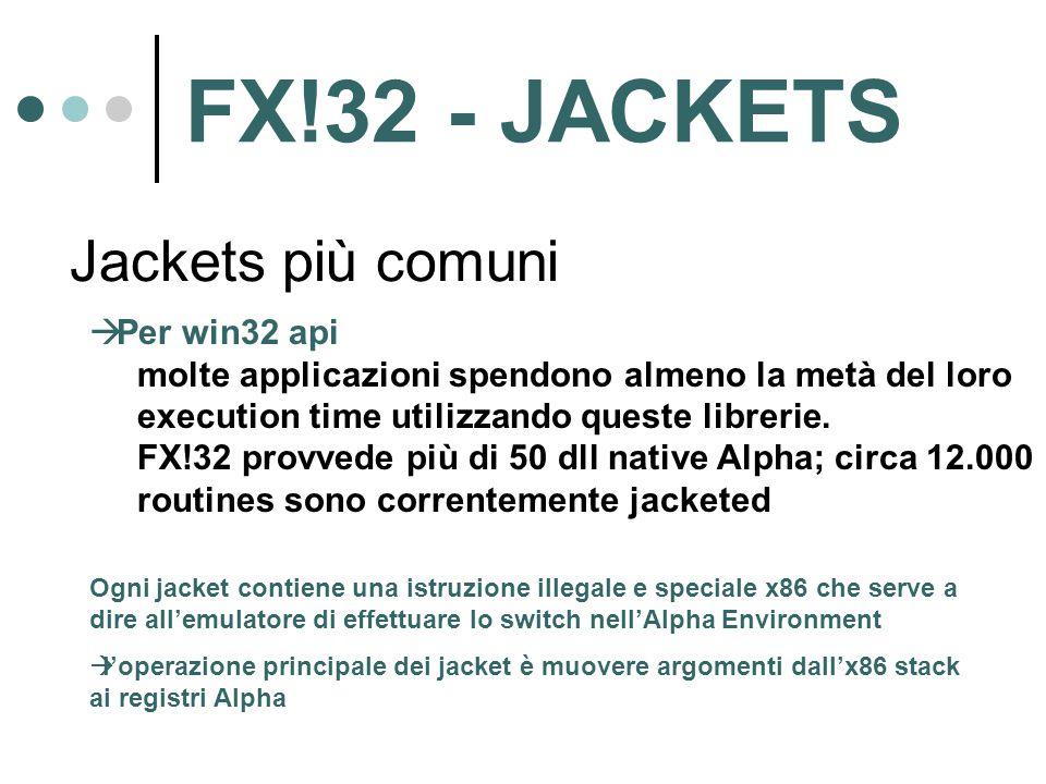 Jackets più comuni  Per win32 api molte applicazioni spendono almeno la metà del loro execution time utilizzando queste librerie. FX!32 provvede più