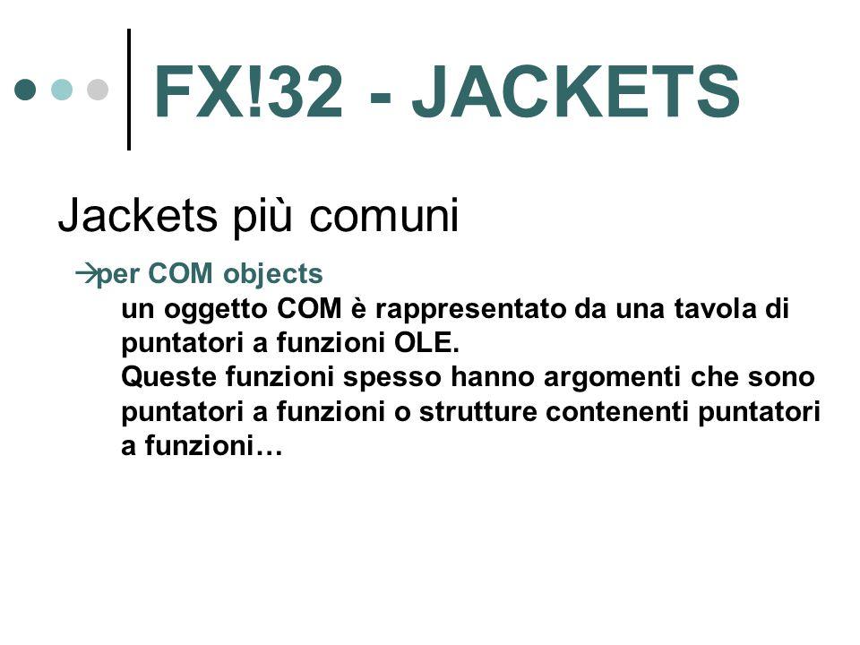 Jackets più comuni  per COM objects un oggetto COM è rappresentato da una tavola di puntatori a funzioni OLE. Queste funzioni spesso hanno argomenti