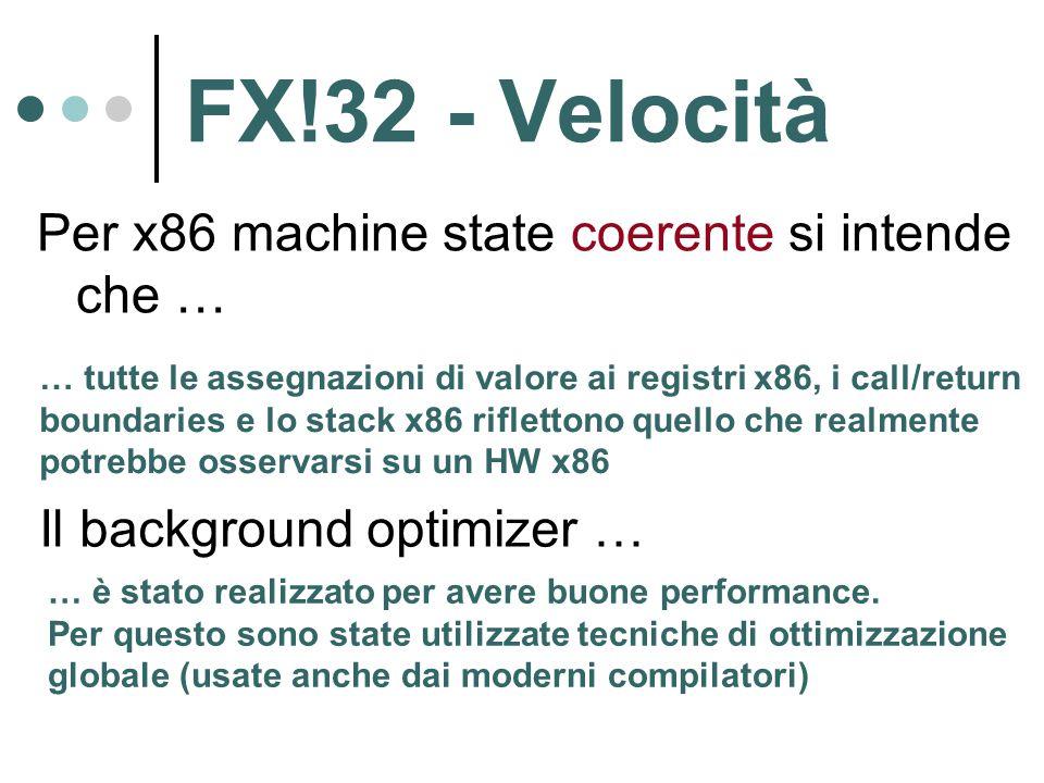 FX!32 - Velocità Per x86 machine state coerente si intende che … … tutte le assegnazioni di valore ai registri x86, i call/return boundaries e lo stack x86 riflettono quello che realmente potrebbe osservarsi su un HW x86 Il background optimizer … … è stato realizzato per avere buone performance.