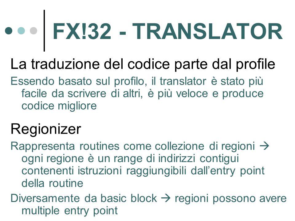 FX!32 - TRANSLATOR La traduzione del codice parte dal profile Essendo basato sul profilo, il translator è stato più facile da scrivere di altri, è più