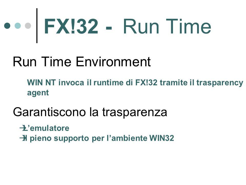 FX!32 - Run Time Run Time Environment WIN NT invoca il runtime di FX!32 tramite il trasparency agent Garantiscono la trasparenza  L'emulatore  Il pieno supporto per l'ambiente WIN32