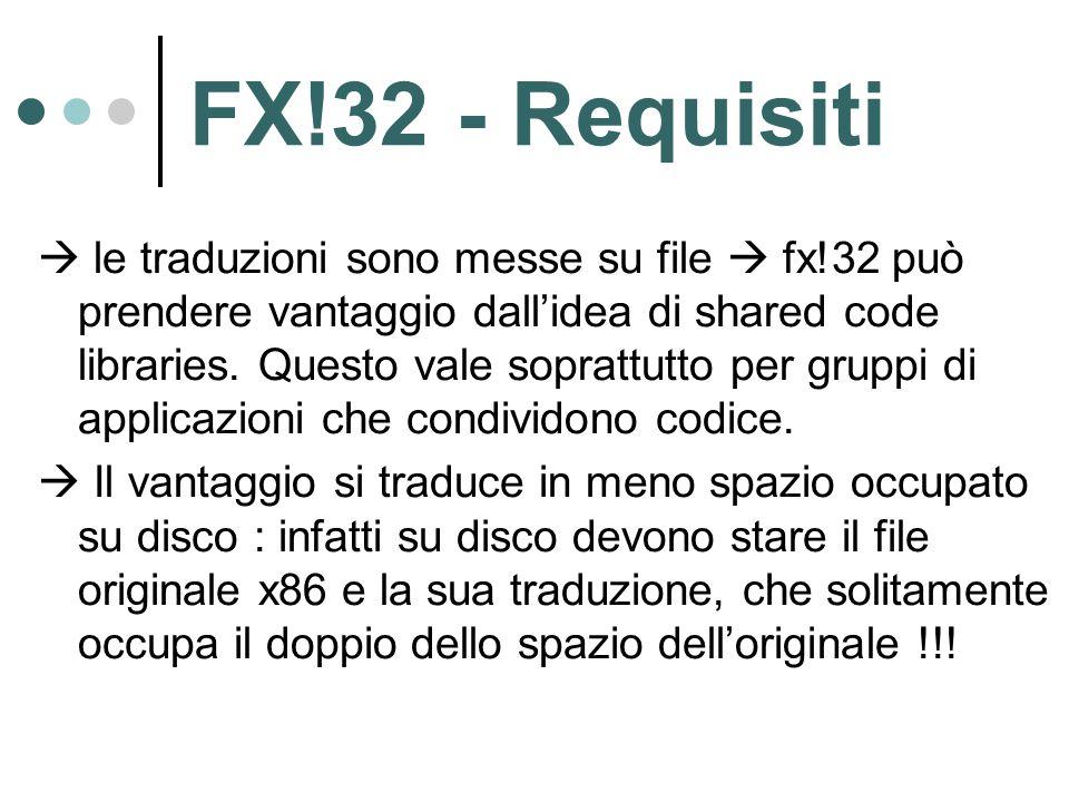 FX!32 - Requisiti  le traduzioni sono messe su file  fx!32 può prendere vantaggio dall'idea di shared code libraries.