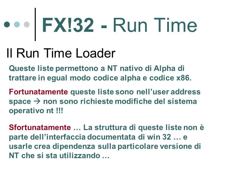FX!32 - Run Time Il Run Time Loader Queste liste permettono a NT nativo di Alpha di trattare in egual modo codice alpha e codice x86. Fortunatamente q
