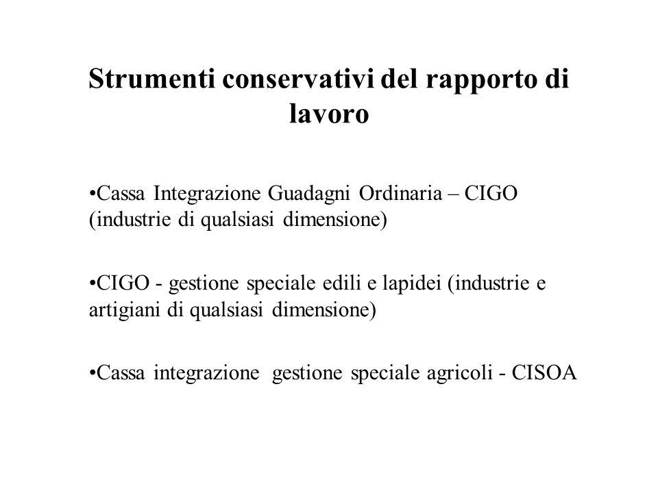 Strumenti conservativi del rapporto di lavoro Cassa Integrazione Guadagni Ordinaria – CIGO (industrie di qualsiasi dimensione) CIGO - gestione special