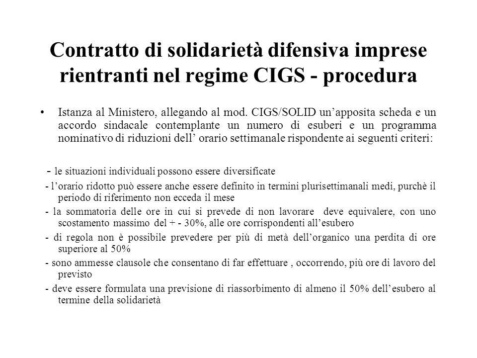 Contratto di solidarietà difensiva imprese rientranti nel regime CIGS - procedura Istanza al Ministero, allegando al mod. CIGS/SOLID un'apposita sched
