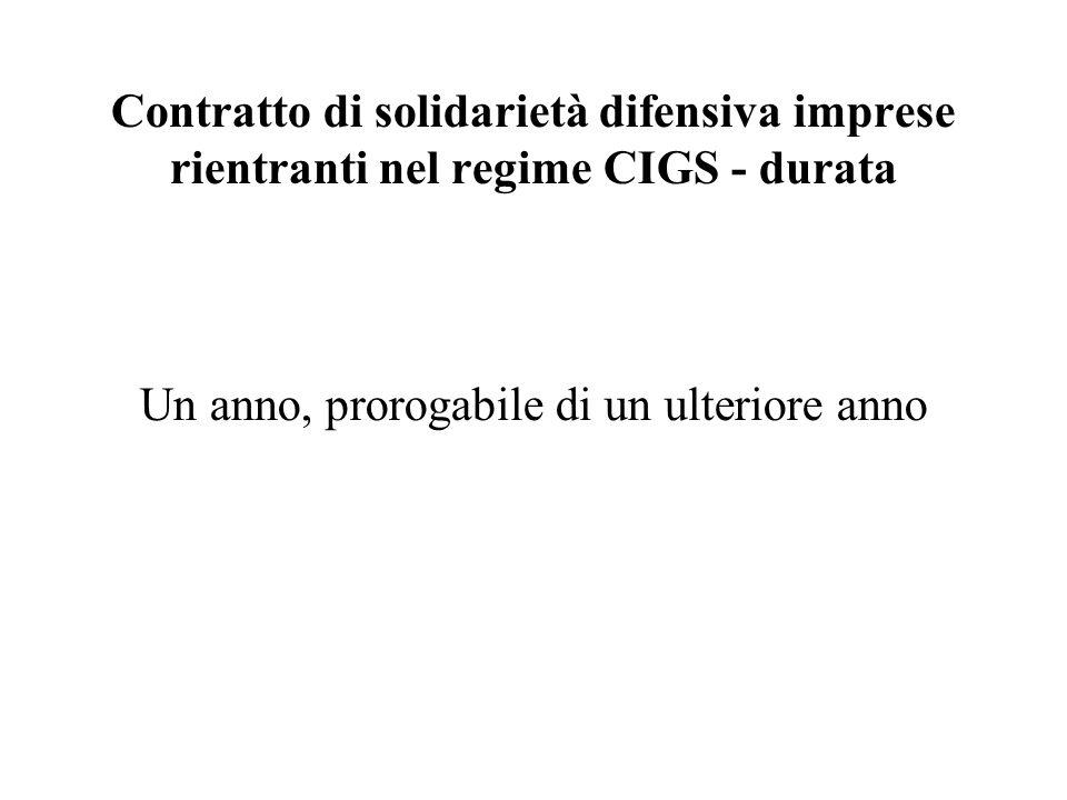 Contratto di solidarietà difensiva imprese rientranti nel regime CIGS - durata Un anno, prorogabile di un ulteriore anno