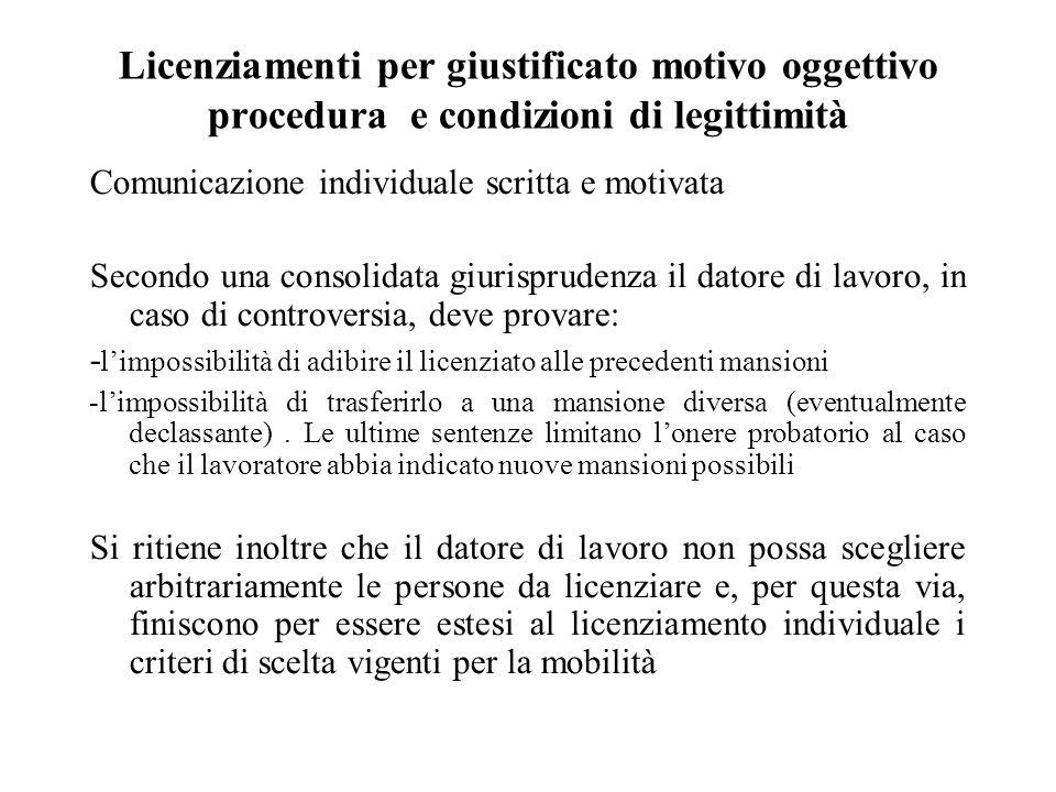 Licenziamenti per giustificato motivo oggettivo procedura e condizioni di legittimità Comunicazione individuale scritta e motivata Secondo una consoli