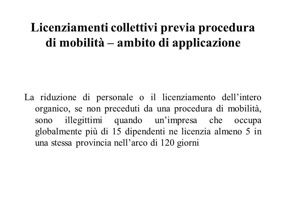 Licenziamenti collettivi previa procedura di mobilità – ambito di applicazione La riduzione di personale o il licenziamento dell'intero organico, se n