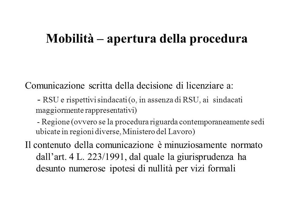 Mobilità – apertura della procedura Comunicazione scritta della decisione di licenziare a: - RSU e rispettivi sindacati (o, in assenza di RSU, ai sind