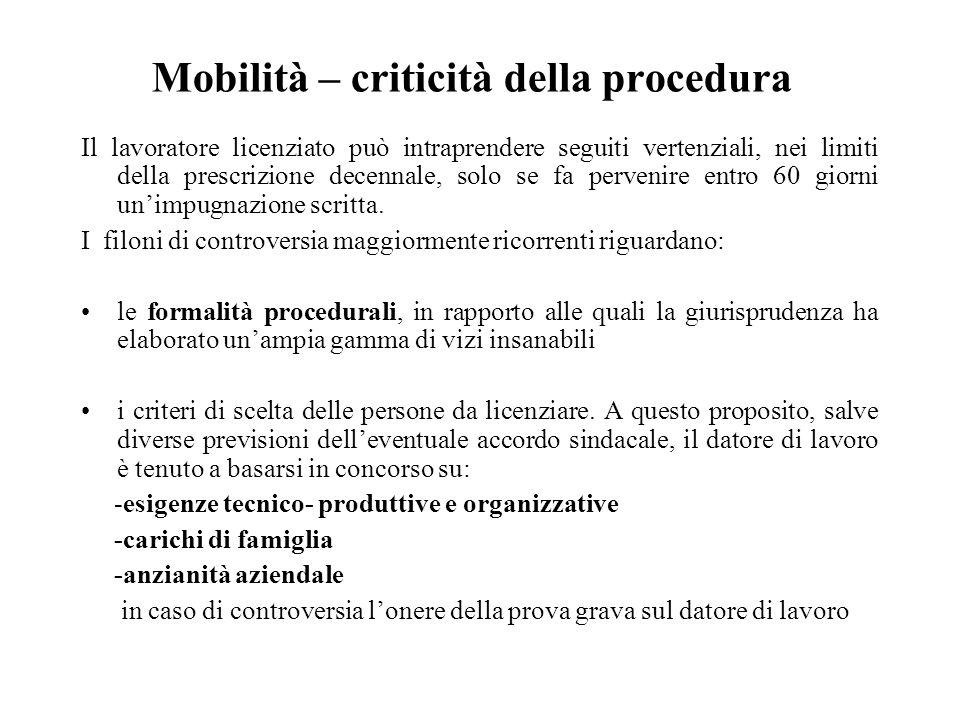 Mobilità – criticità della procedura Il lavoratore licenziato può intraprendere seguiti vertenziali, nei limiti della prescrizione decennale, solo se