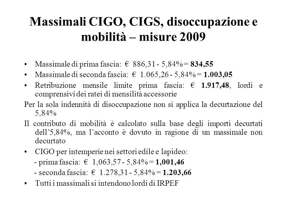 Massimali CIGO, CIGS, disoccupazione e mobilità – misure 2009 Massimale di prima fascia: € 886,31 - 5,84% = 834,55 Massimale di seconda fascia: € 1.065,26 - 5,84% = 1.003,05 Retribuzione mensile limite prima fascia: € 1.917,48, lordi e comprensivi dei ratei di mensilità accessorie Per la sola indennità di disoccupazione non si applica la decurtazione del 5,84% Il contributo di mobilità è calcolato sulla base degli importi decurtati dell'5,84%, ma l'acconto è dovuto in ragione di un massimale non decurtato CIGO per intemperie nei settori edile e lapideo: - prima fascia: € 1,063,57 - 5,84% = 1,001,46 - seconda fascia: € 1.278,31 - 5,84% = 1.203,66 Tutti i massimali si intendono lordi di IRPEF