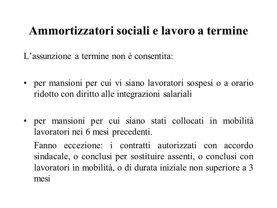 Ammortizzatori sociali e lavoro a termine L'assunzione a termine non è consentita: per mansioni per cui vi siano lavoratori sospesi o a orario ridotto