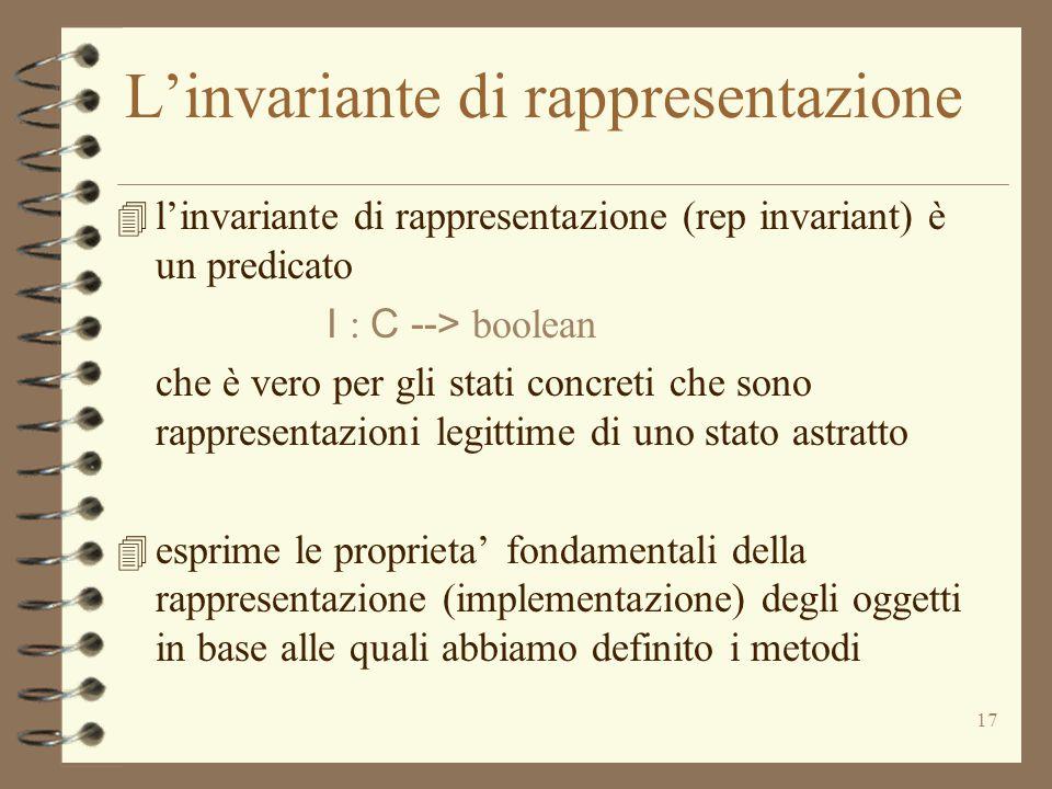 17 L'invariante di rappresentazione 4 l'invariante di rappresentazione (rep invariant) è un predicato I : C --> boolean che è vero per gli stati concreti che sono rappresentazioni legittime di uno stato astratto 4 esprime le proprieta' fondamentali della rappresentazione (implementazione) degli oggetti in base alle quali abbiamo definito i metodi