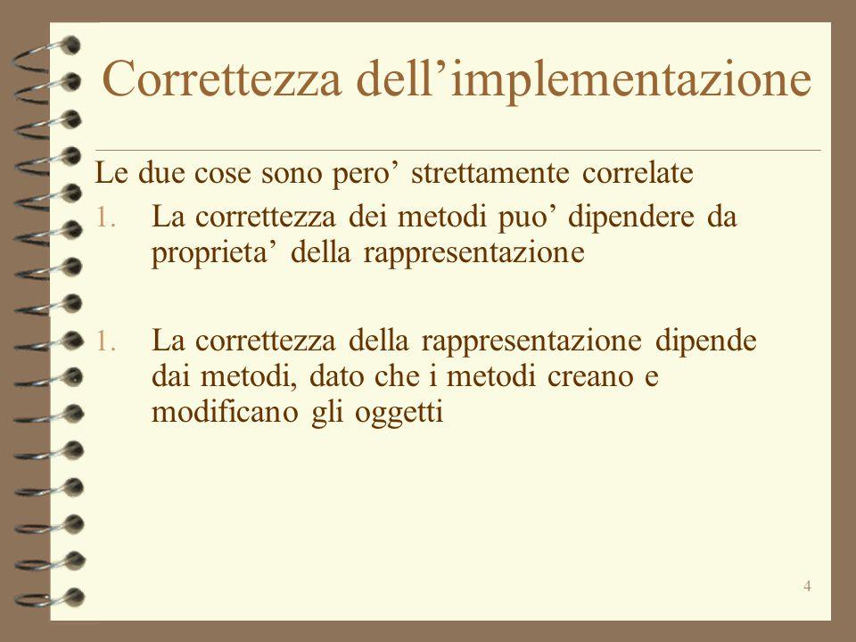 4 Correttezza dell'implementazione Le due cose sono pero' strettamente correlate 1.