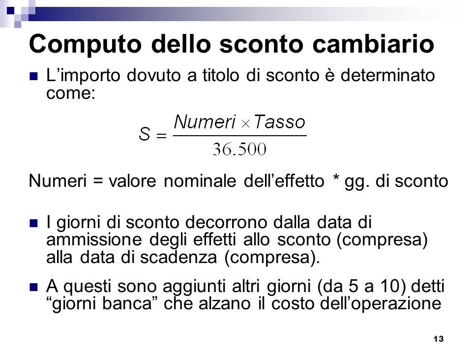 13 Computo dello sconto cambiario L'importo dovuto a titolo di sconto è determinato come: Numeri = valore nominale dell'effetto * gg. di sconto I gior