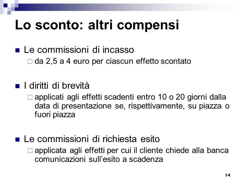 14 Lo sconto: altri compensi Le commissioni di incasso  da 2,5 a 4 euro per ciascun effetto scontato I diritti di brevità  applicati agli effetti sc