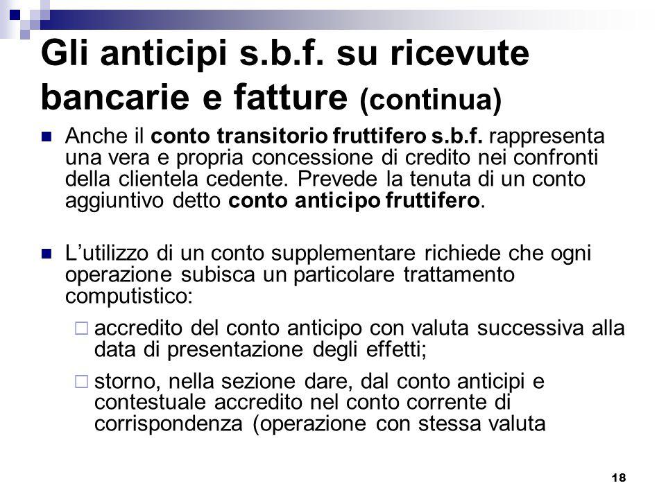18 Gli anticipi s.b.f. su ricevute bancarie e fatture (continua) Anche il conto transitorio fruttifero s.b.f. rappresenta una vera e propria concessio
