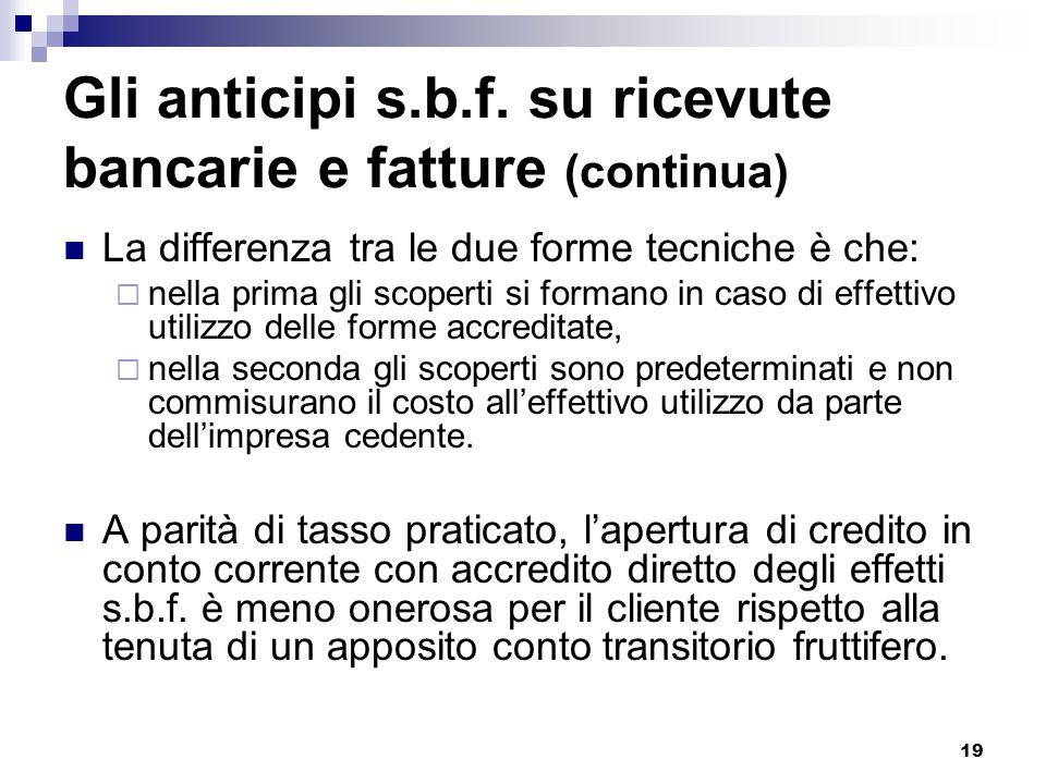 19 Gli anticipi s.b.f. su ricevute bancarie e fatture (continua) La differenza tra le due forme tecniche è che:  nella prima gli scoperti si formano
