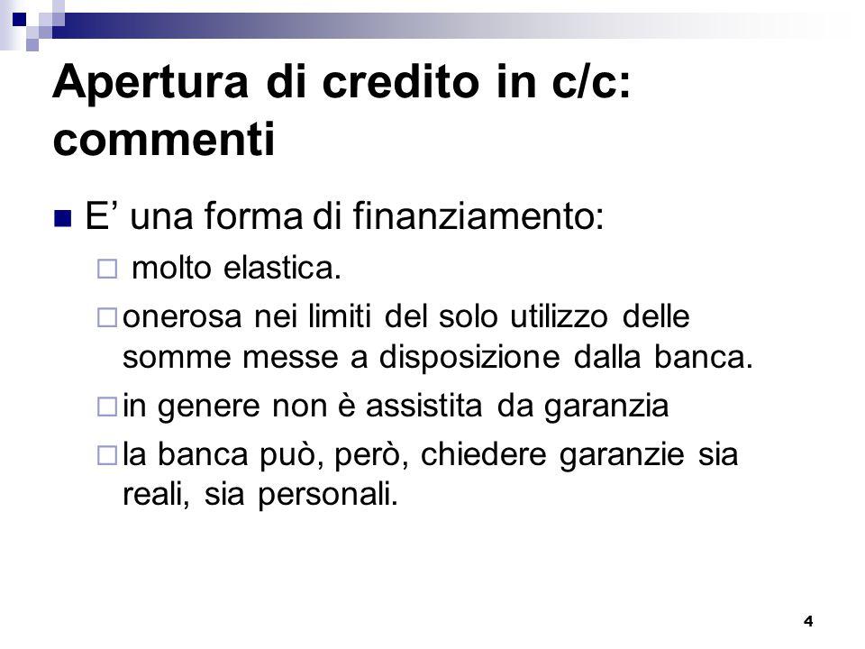 4 Apertura di credito in c/c: commenti E' una forma di finanziamento:  molto elastica.  onerosa nei limiti del solo utilizzo delle somme messe a dis