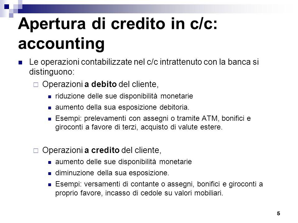 5 Apertura di credito in c/c: accounting Le operazioni contabilizzate nel c/c intrattenuto con la banca si distinguono:  Operazioni a debito del clie