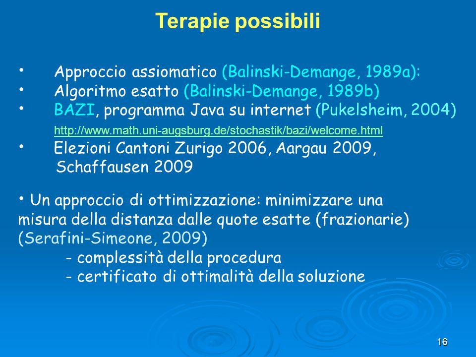16 Terapie possibili Approccio assiomatico (Balinski-Demange, 1989a): Algoritmo esatto (Balinski-Demange, 1989b) BAZI, programma Java su internet (Puk