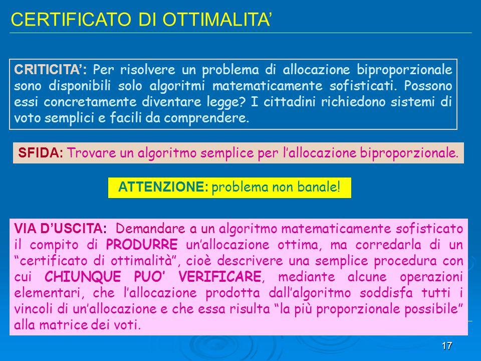 17 CERTIFICATO DI OTTIMALITA' CRITICITA': Per risolvere un problema di allocazione biproporzionale sono disponibili solo algoritmi matematicamente sof