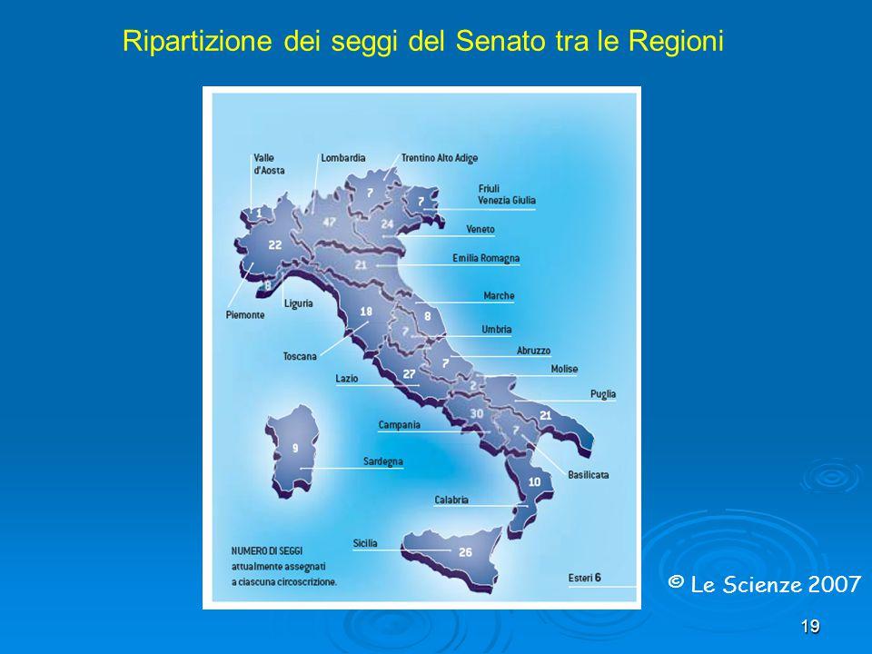 19 Ripartizione dei seggi del Senato tra le Regioni © Le Scienze 2007
