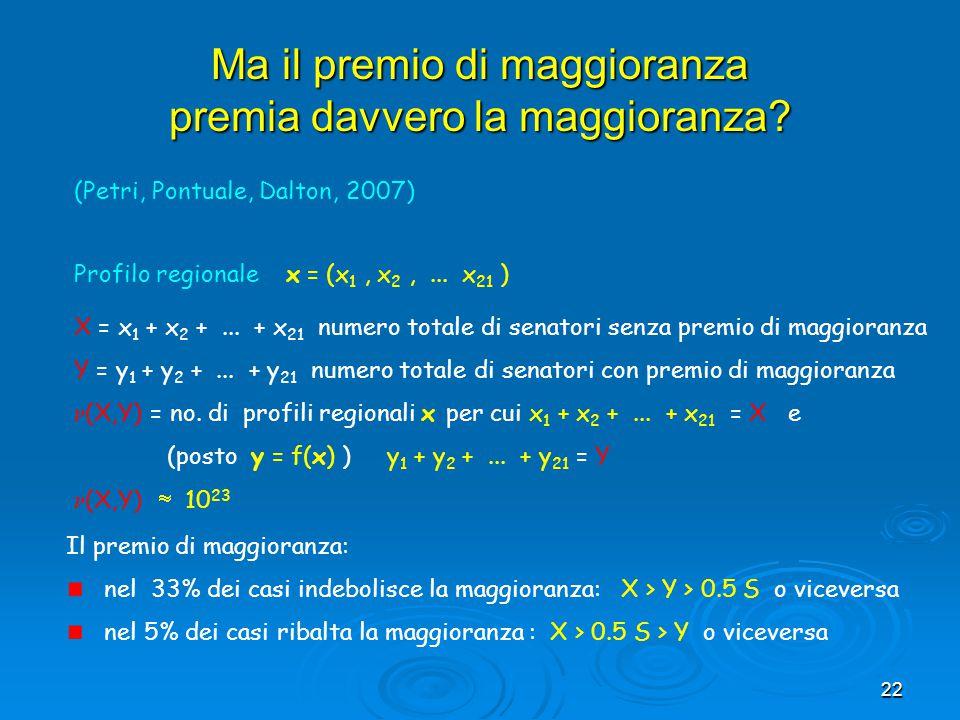 22 Ma il premio di maggioranza premia davvero la maggioranza? Profilo regionale x = (x 1, x 2,... x 21 ) X = x 1 + x 2 +... + x 21 numero totale di se