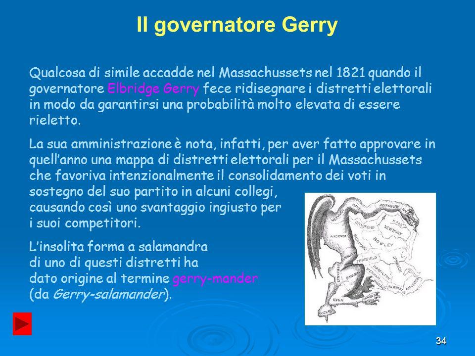 34 Il governatore Gerry Qualcosa di simile accadde nel Massachussets nel 1821 quando il governatore Elbridge Gerry fece ridisegnare i distretti eletto