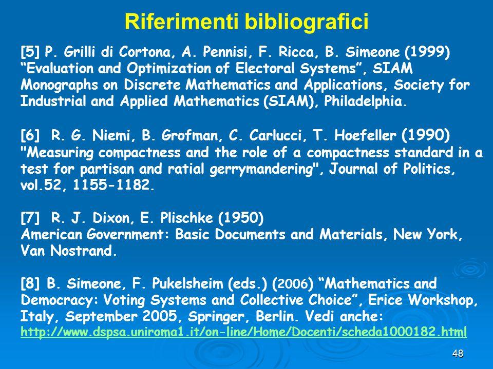 """48 [5] P. Grilli di Cortona, A. Pennisi, F. Ricca, B. Simeone (1999) """"Evaluation and Optimization of Electoral Systems"""", SIAM Monographs on Discrete M"""