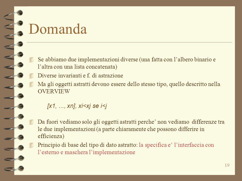 19 Domanda 4 Se abbiamo due implementazioni diverse (una fatta con l'albero binario e l'altra con una lista concatenata) 4 Diverse invarianti e f.