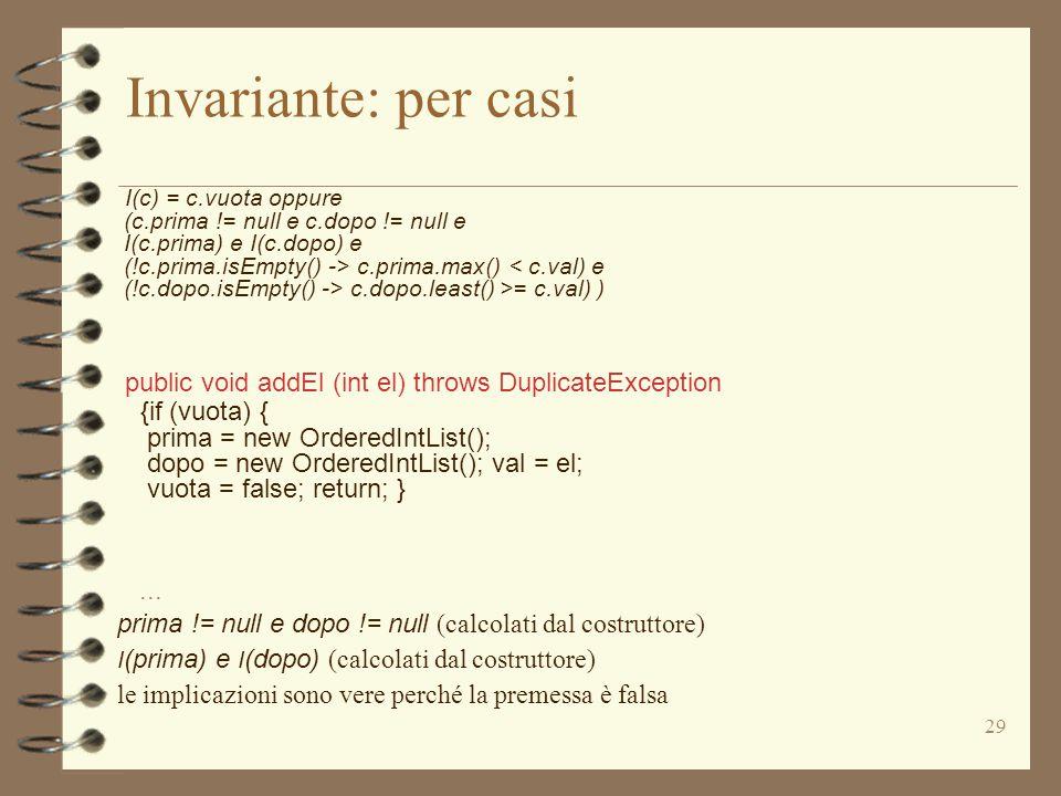 29 Invariante: per casi I(c) = c.vuota oppure (c.prima != null e c.dopo != null e I(c.prima) e I(c.dopo) e (!c.prima.isEmpty() -> c.prima.max() < c.val) e (!c.dopo.isEmpty() -> c.dopo.least() >= c.val) ) public void addEl (int el) throws DuplicateException {if (vuota) { prima = new OrderedIntList(); dopo = new OrderedIntList(); val = el; vuota = false; return; }...