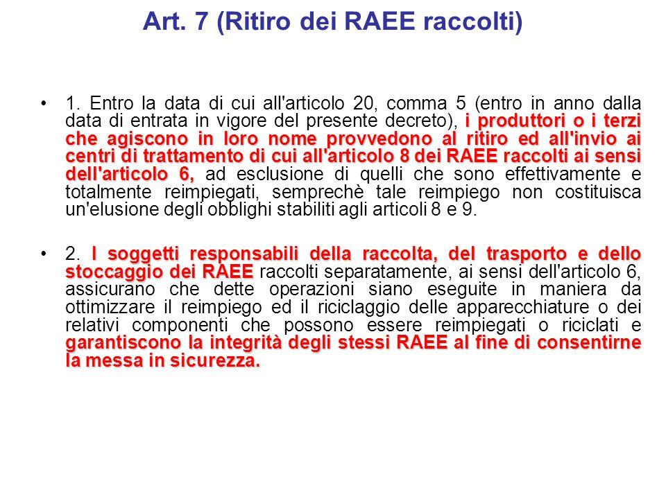 Art. 6 (Raccolta separata) entro in anno dalla data di entrata in vigore del presente decreto1. Entro la data di cui all'articolo 20, comma 5 (I sogge